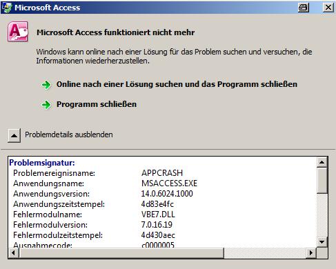 Microsoft Access funktioniert nicht merh