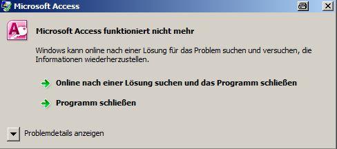 Microsoft Access funktioniert nicht mehr