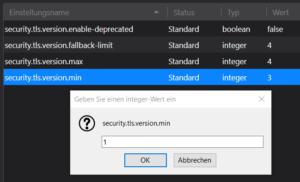 Thunderbird, erweiterte Einstellungen. TLS Version Min = 1